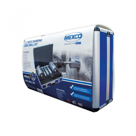 DCX90 11pc Core Drill Kit Packaging