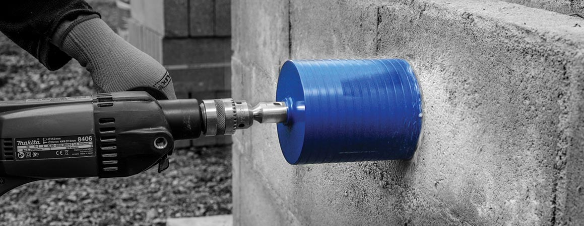 Diamond Core Drill into Concrete Block Wall